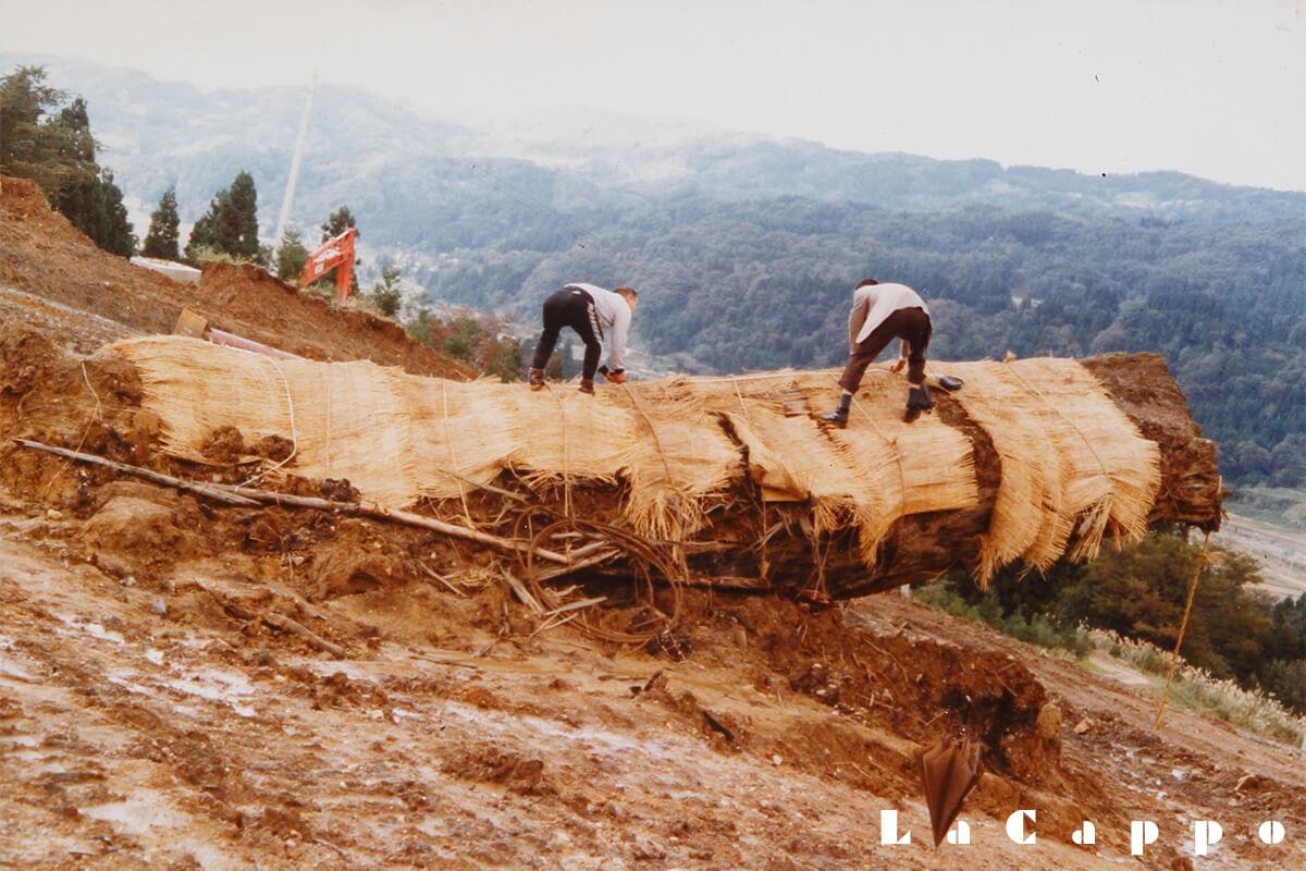昭和58年:スキー場造成地斜面の中腹より出土した黒神代杉
