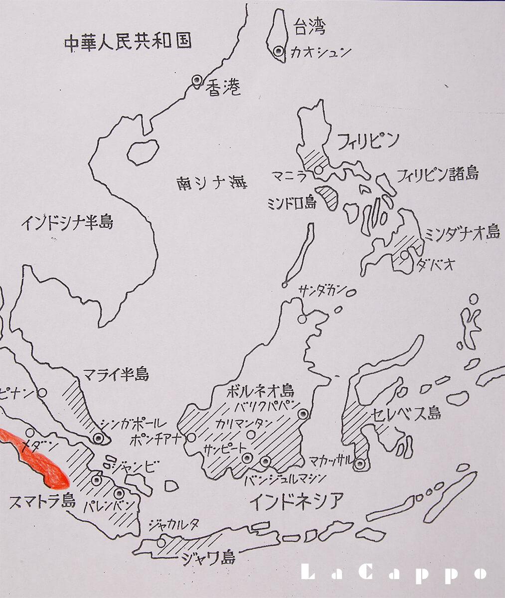 マラッカ籐・九籐の生育地図分布図