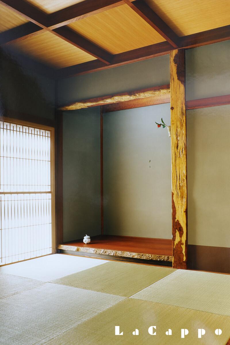 花梨の床柱、地板類