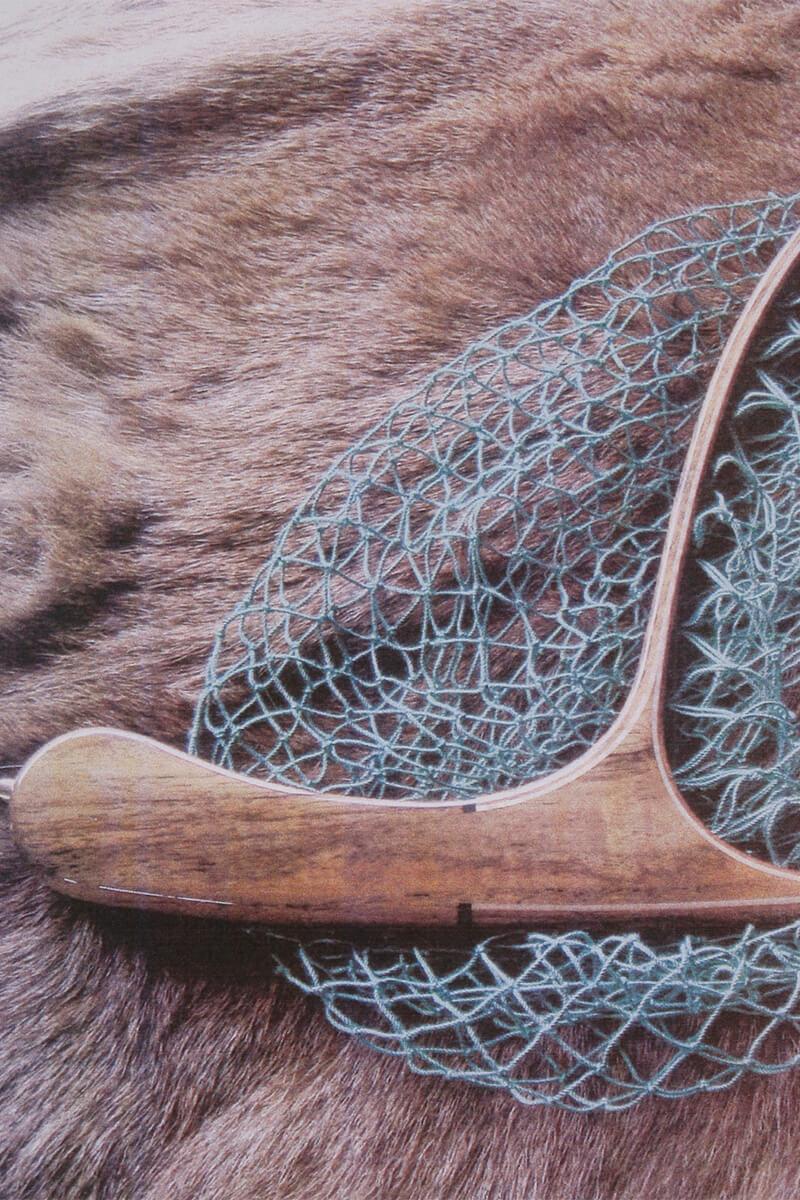 小物材より作られたマハラジャチークのランディングネット