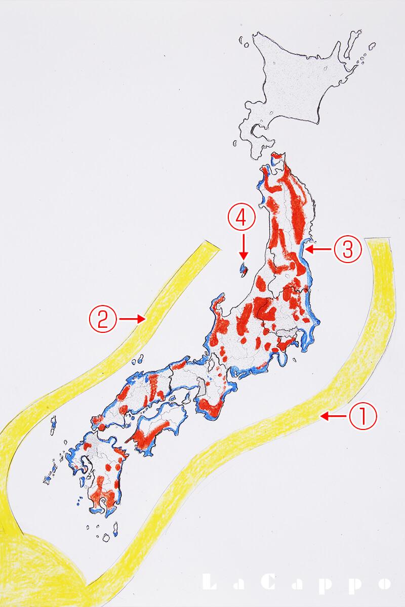 赤松と黒松の分布:LaCappo作図