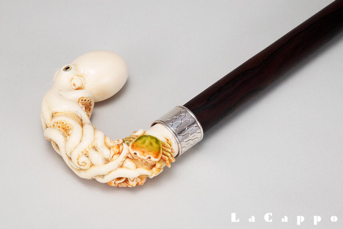 美術象牙彫 ステッキハンドル例