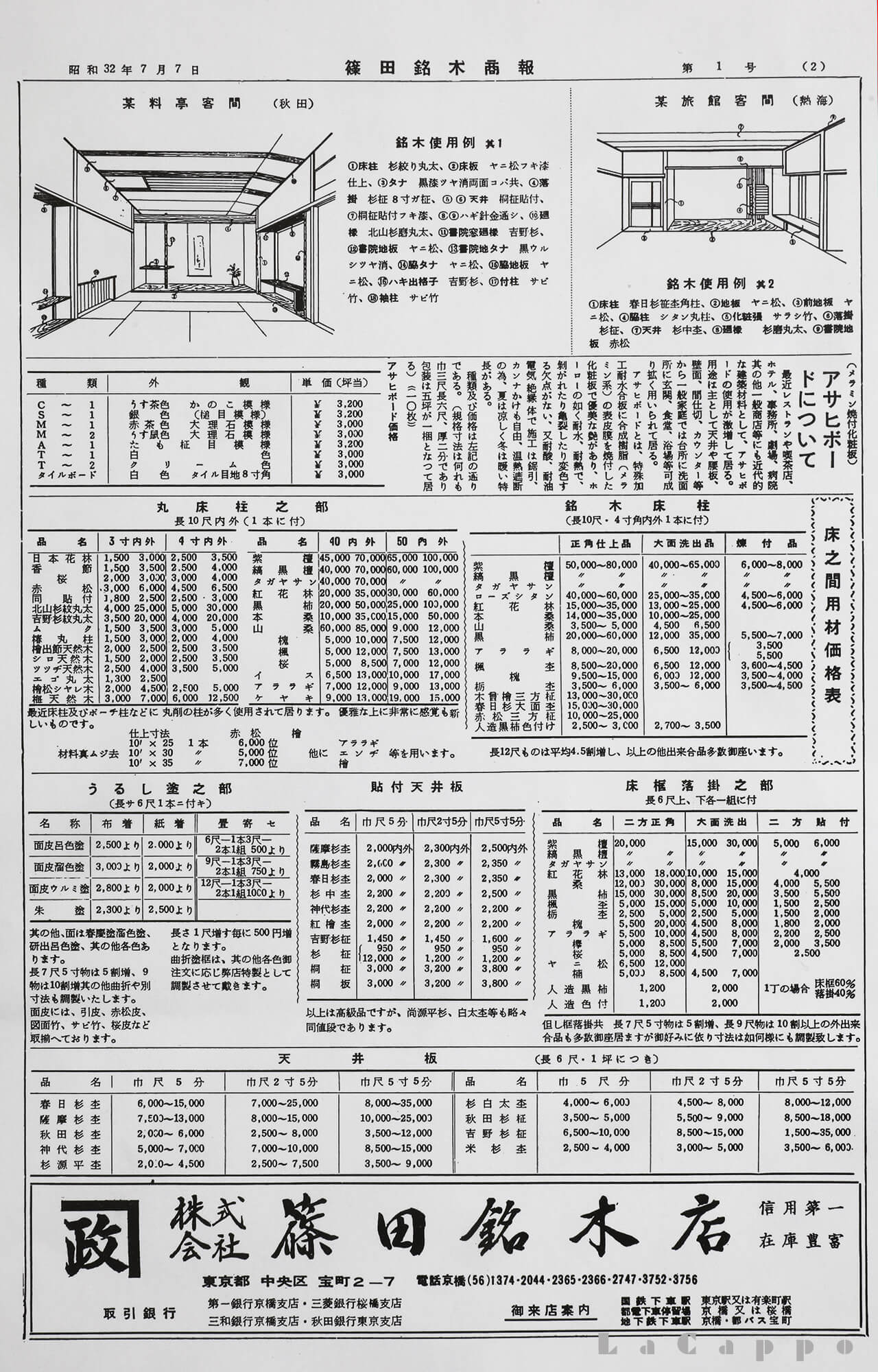 昭和32年7月7日に出された篠田銘木商報