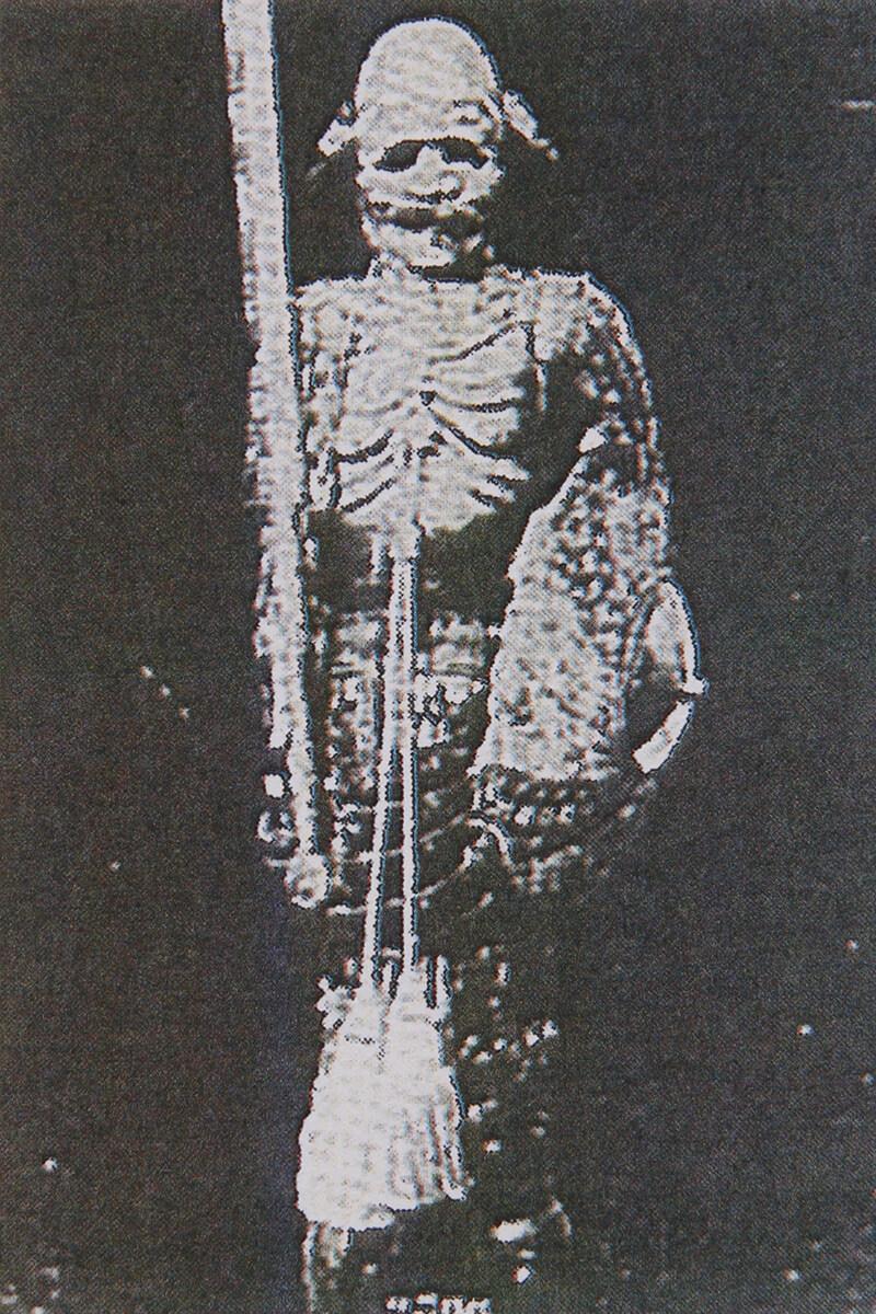 惜しくも焼失し、一部再現の写真(豊臣秀吉がなんと、日本に二度来日したインド副王(使節)に下賜された二領の武具の一つ)
