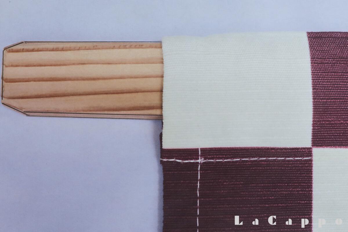 袋縫いタイプで横棒は竹でなく杉板材を使います。