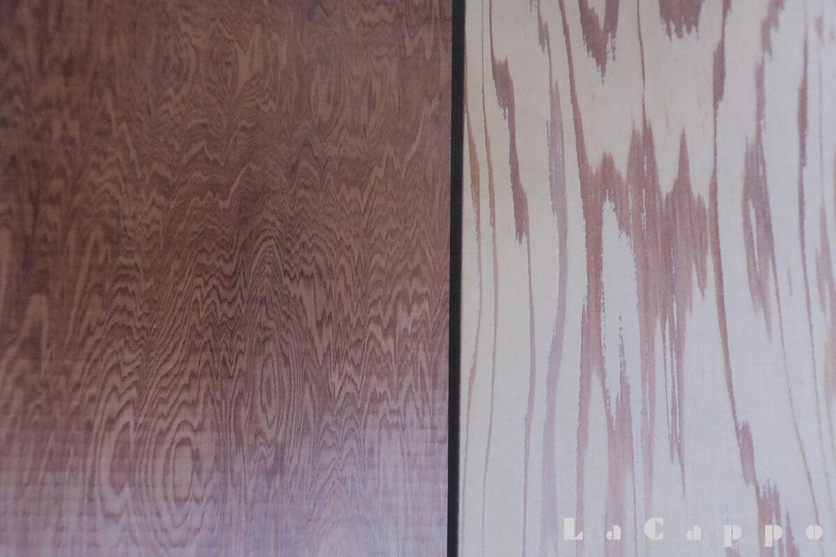 床ノ間材の落掛(向って左:屋久杉(無傷材)で厚み6cmの中に250年の年輪が有る品、向って右:日光杉笹杢目。品の良い色彩。)