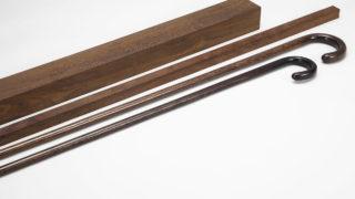 ステッキ用に木取りされた本鉄刀木(タガヤサン)の素材とステッキの王道、大曲り・中曲りステッキ製品