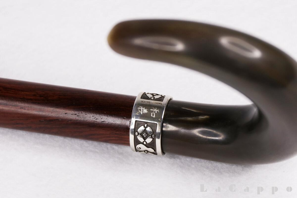 ホンジュラスローズウッド、本銀(925)を用いたオランダ水牛大曲りステッキ